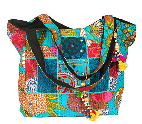 Blue Floral Large Bohemian Shoulder Bag Beach Market Shopping Carry All Tote Women Everyday School Laptop Travel Hippie Tribal (Turquoise)