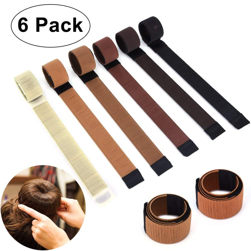 6PCS Hair Bun Maker Easy & Fast Donut Bun Maker, Magic Perfect Bun Maker DIY Snap Beauty Crown and Donut Hair Bun Making Roll Tool Ponitail Holder OperationCwrl