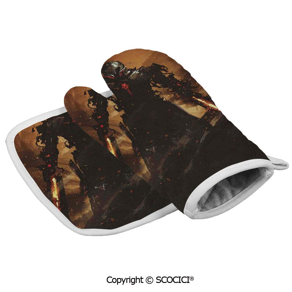 SCOCICI Oven Mitts Glove - Robot Warrior Terminator at War Fire Sword Paint Style Heat Resistant, Handle Hot Oven Cooking Items Safely