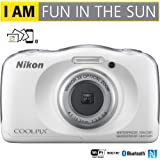 Nikon COOLPIX W100 13.2MP 1080P Digital Camera w/3x Zoom Lens, WiFi, SnapBridge, White (26515B) - (Certified Refurbished)