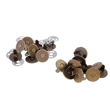 MagiDeal 10 Sets de Cierres Magnéticos Broches Imán Botón Costura Artesanía de Bricolaje - Bronce, 18 mm: Amazon.es: Hogar