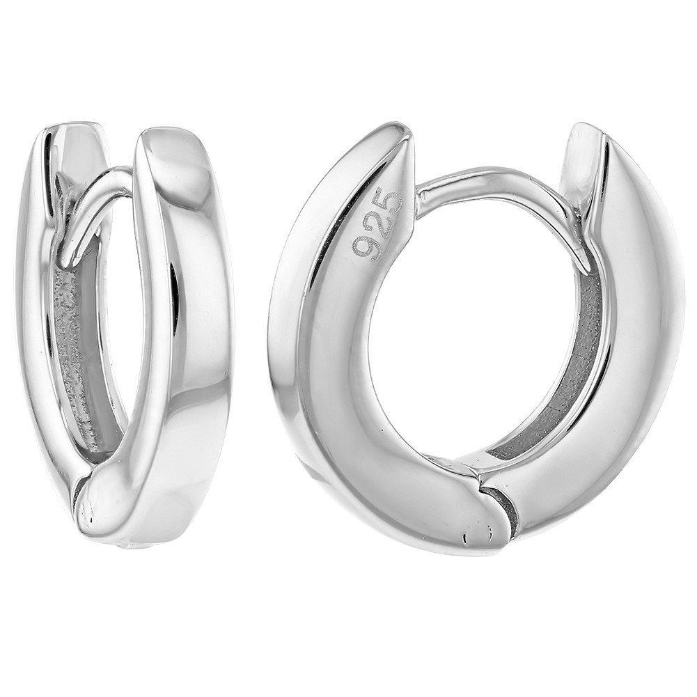 925 Sterling Silver Plain Small Huggie Hoop Earrings Girls 0.31 In Season Jewelry SS-03-00075
