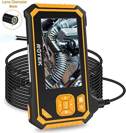 Rotek Endoskop Hand Industrie Endoskopkamera 4 3 Zoll Lcd Bildschirm Digitale Inspektionskamera Wasserdicht 1080p Hd Mit 6 Led Licht Flexible Video Boreskop Mit 2600mah Lithium Batterie 5 M Auto