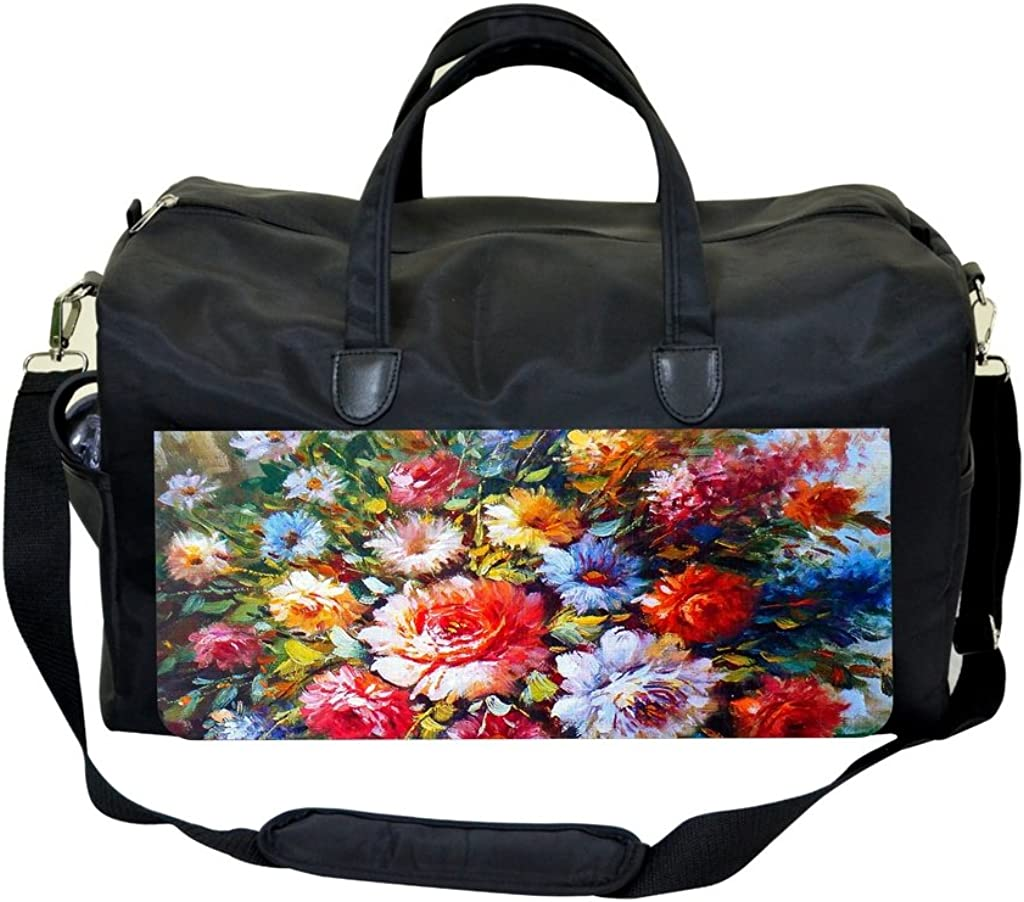 Watercolor Flowers PU Leather and Suede Sports Bag