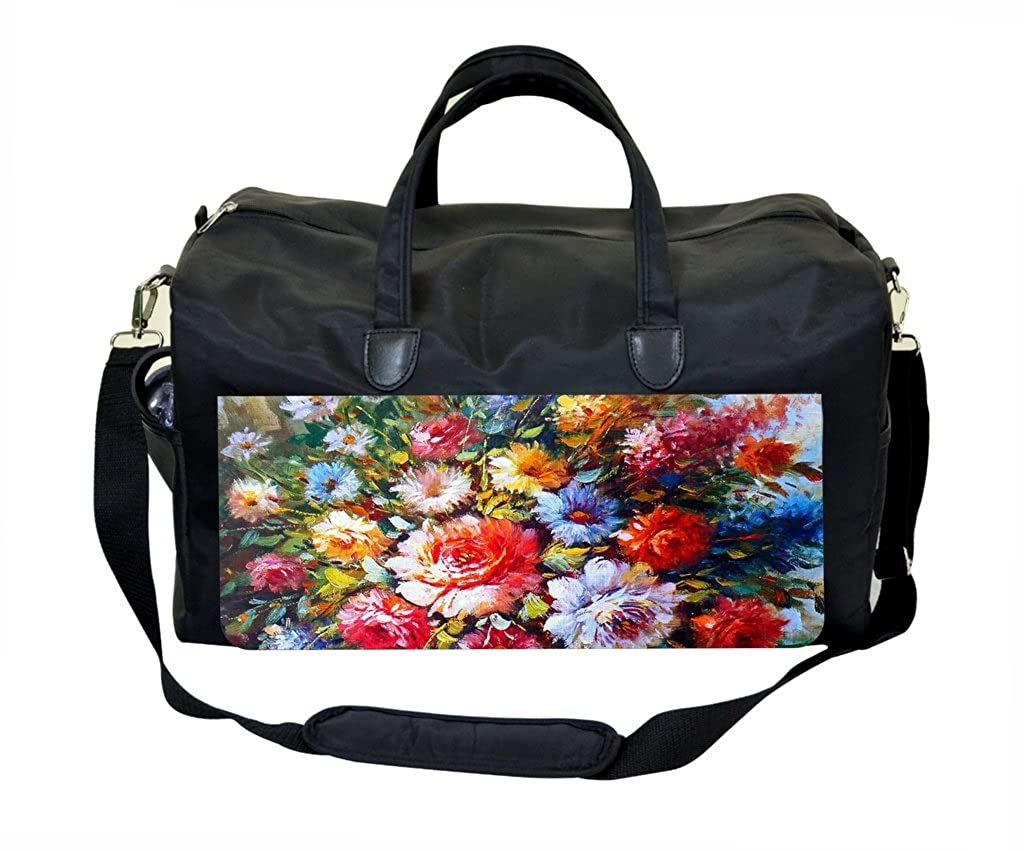 Watercolor Flowers PU Leather and Suede Therapist Bag
