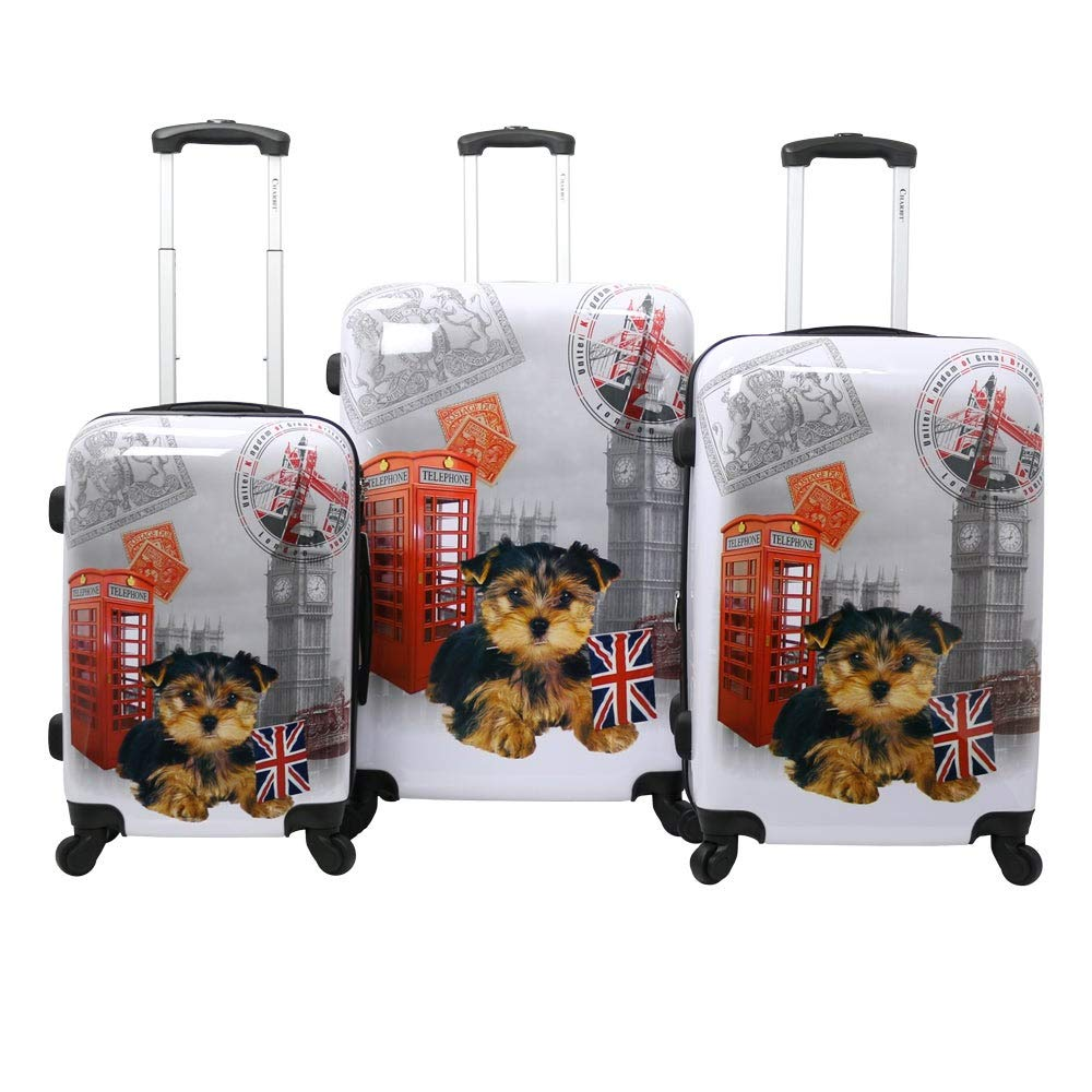 47d380e9bd2f Chariot Doggie 3-Piece Expandable Hardside Lightweight Spinner Luggage  Set-UK