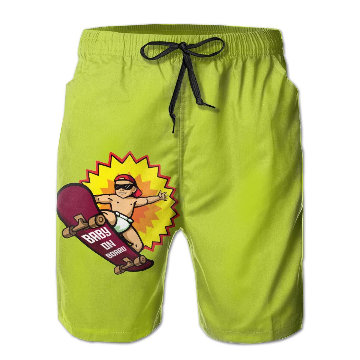 Baby On Board Beach Board Shorts Mens Beach Shorts Swim Trunks Swimsuit Athletic Shorts