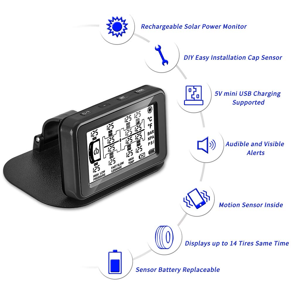 Wireless Solar Tire Pressure Monitoring System with DIY Easy Installation Cap Sensors Pressure Range 0~188 PSI GreatTrend 8 Tyres TPMS for RV//Buses//Caravan//Motor home//Trailer//Travel//Trucks 0~13 BAR