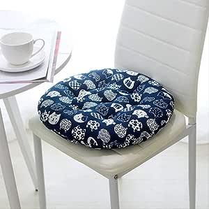 DYB&home Juego De 4 Cojines para Sillas El Suelo Asiento - Algodón/Lino Redondo Azul para Gatos - Almohadillas para Sillas para Oficinas De Jardín Interiores Y Exteriores: Amazon.es: Hogar