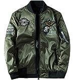 ジャケット 両面着 中綿 ブルゾン リバーシブル MA1 フライトジャケット ミリタリー ジャンパー ワッペン 刺繍 防風 秋冬春 大きいサイズ