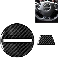 Easy to disassemble and install 2 in 1 Car Carbon Fiber Steering Wheel Button Decorative Sticker for Chevrolet Camaro…