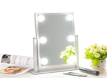 Mufly Miroir De Maquillage 1 Face Sur Pied Avec 6 Lampes Pour