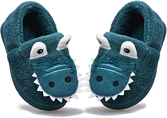 Kids House Slippers Boys Girls Dinosaur Home Slippers Memory Foam Comfy Bedroom Slippers Winter Warm Indoor Outdoor Shoes