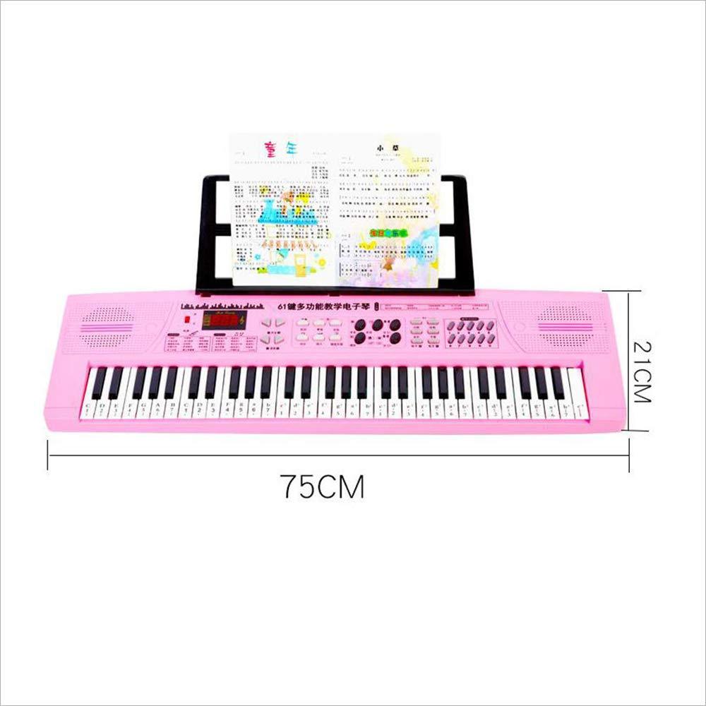Teclado para niños 61 Teclas Piano de Juguete Piano eléctrico Soporte multifunción Piano de Dibujos Animados Rosa estándar (Color : Pink) : Amazon.es: ...