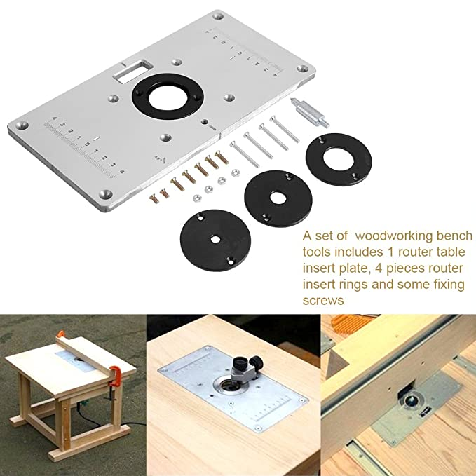 Router table insert plate 93x47x 03 aluminum router table router table insert plate 93x47x 03 aluminum router table insert plate with 4 rings and screws for woodworking benches amazon greentooth Choice Image