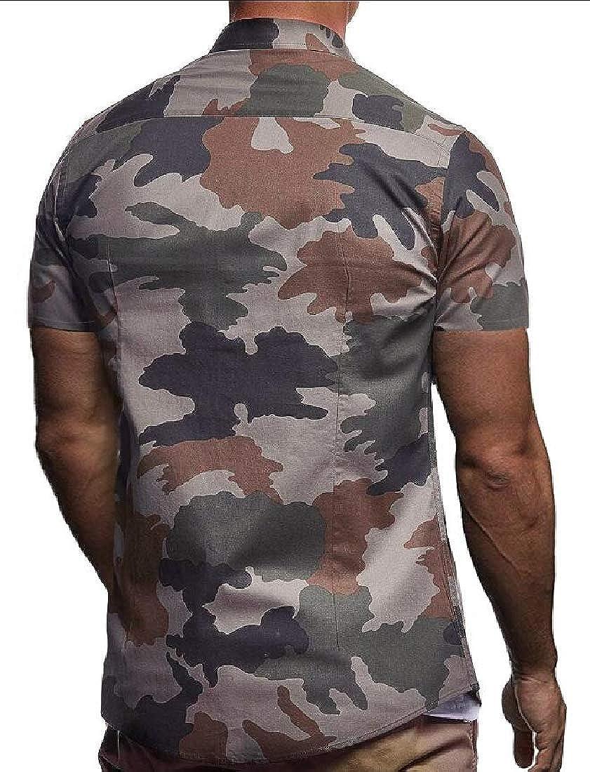Alion Men Short Sleeve Camo Slim Fit Turn Down Collar Button Down Tops Dress Shirt
