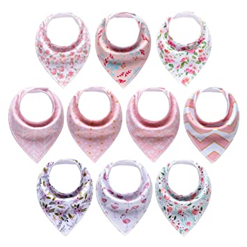 Babies Feeding Angker Baby Bandana Bibs 10 Pack Newborns Teething Baby Shower Gift Baby Dribble Bibs with Snaps 100/% Cotton Soft Baby Bandana Drool Bibs and Absorbent for Girls