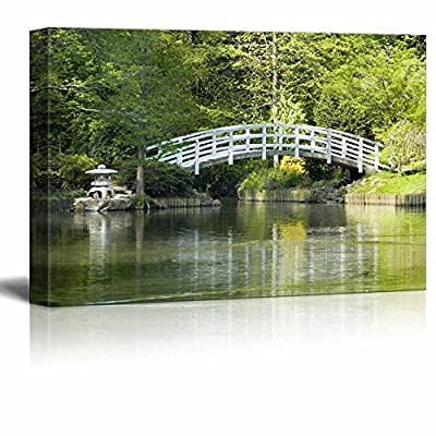 Canvas Prints Wall Art - Beautiful Scenery/Landscape Japanese Zen Garden with Arched Moon Bridge and Pagoda - 16