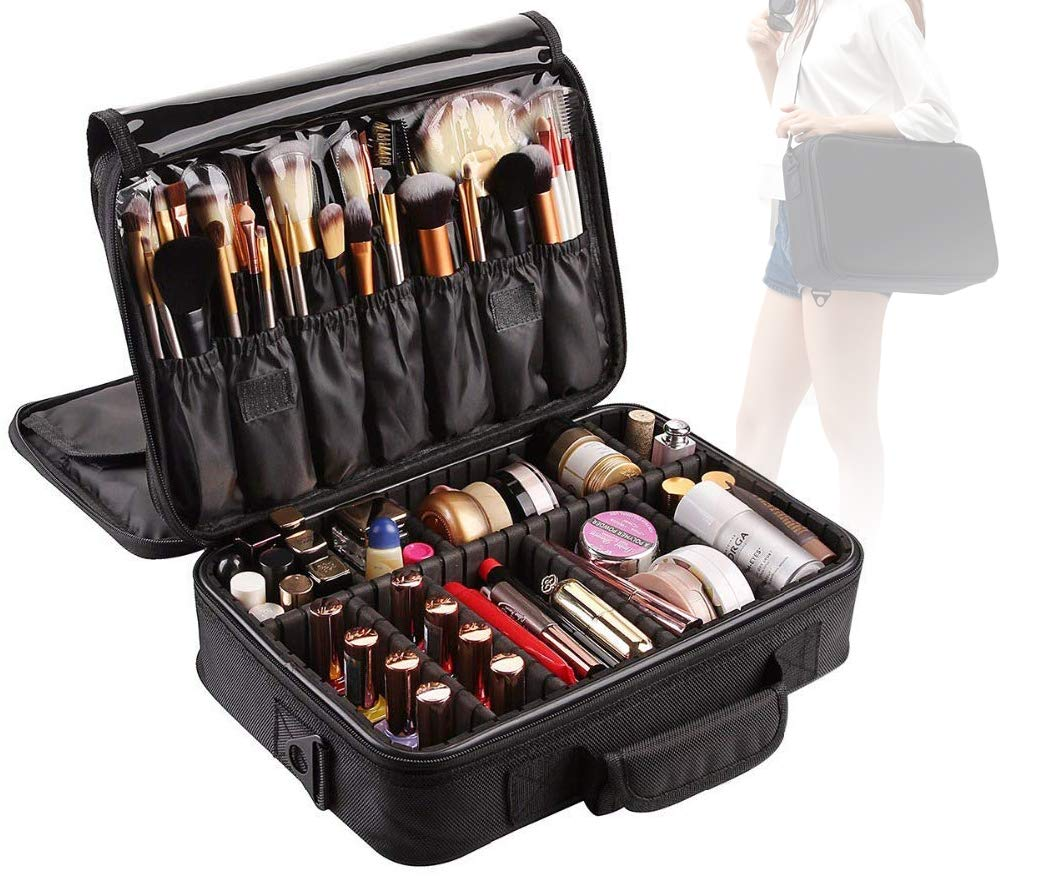 Lumcrissy Large Capacity Makeup Case 3 Layers Cosmetic Makeup Train Case Cosmetic Organizer Travel Cosmetic Bags EVA Makeup Organizers Storage Brush Holder with Adjustable Shoulder
