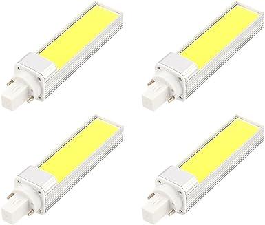 masonanic 4 Pack LED G24 CFL luz blanca lámpara G24 de aluminio giratorio 2- Pins LED CFL/CFL, 12 W 1150LM 28 W Equivalente, luz blanca, 6000 K: Amazon.es: Iluminación