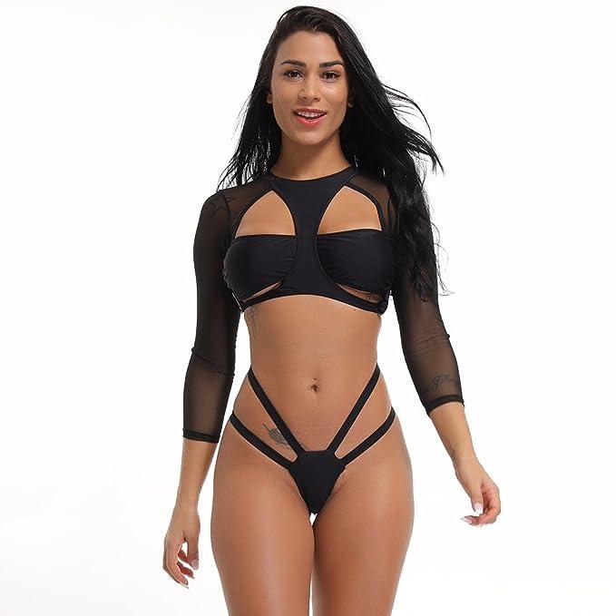 2e20131223000 Amazon.com  KIWI RATA New Women Sexy Two Pieces Bandage Mesh Style Long  Sleeves Swimsuit Padded Push up Bathing Bikini Sets Swimwear  Clothing