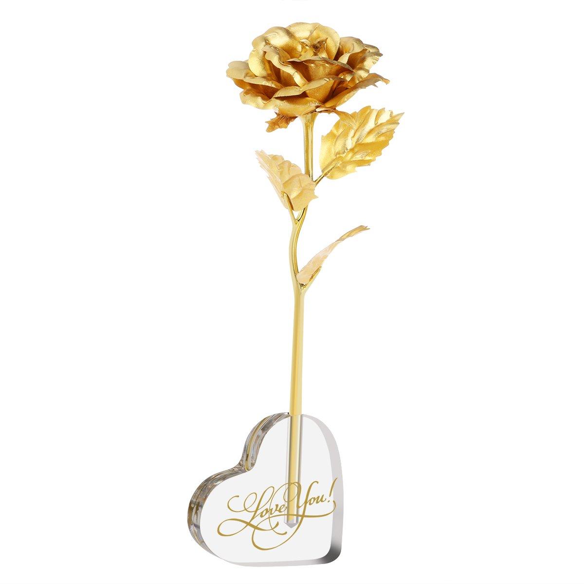 PIXNOR Blattgold Rose mit Acryl Herz fö rmigen Standfuß , Valentinstag Geschenk ,Hochzeitsgeschenk ,Mutter Tag Geschenk Geburtstag Geschenk Geburtstagsgeschenk (Gold)