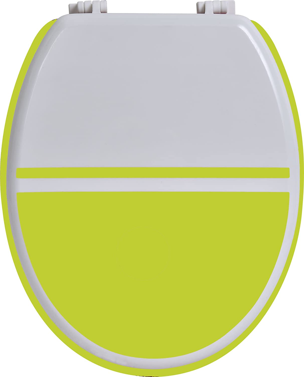 New EVIDECO 4101201 Two Colored Oval Toilet Seat White Lime Green Wood 17 5