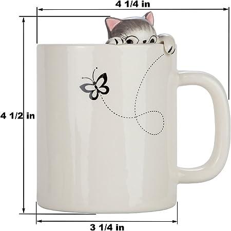 Lilys Home - Taza para café y té, diseño de gato Taza de cerámica 3D para amantes de los gatos: Amazon.es: Hogar