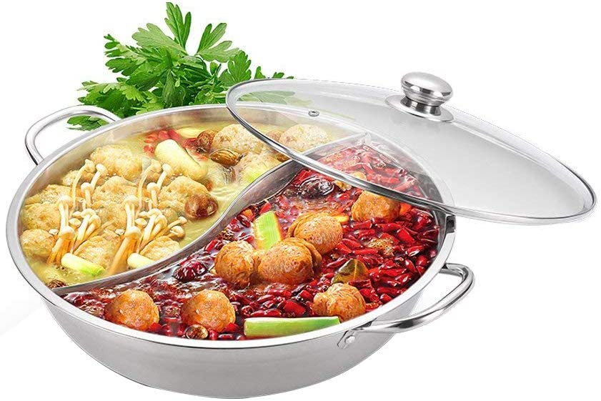 Yzakka Stainless Steel Shabu Hot Divider for Induction Cooktop Gas Stove Include Pot Spoon, 30cm, With Cover