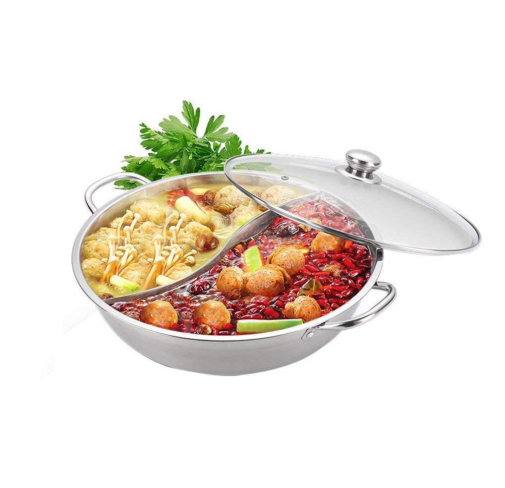 Yzakka Stainless Steel Shabu Hot with with Divider for Induction Cooktop Gas Stove Include Pot Spoon, 30cm, With With Cover by Yzakka