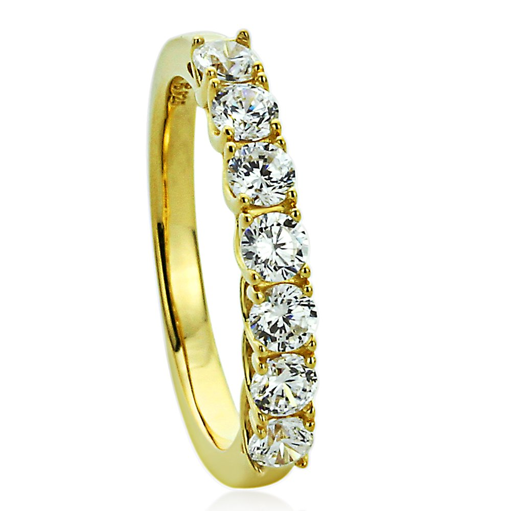 Sterling Silver 14K Gold Plated Wedding Ring Round CZ Seven Stone Anniversary Ring 3MM (Size 5 to 10), 7