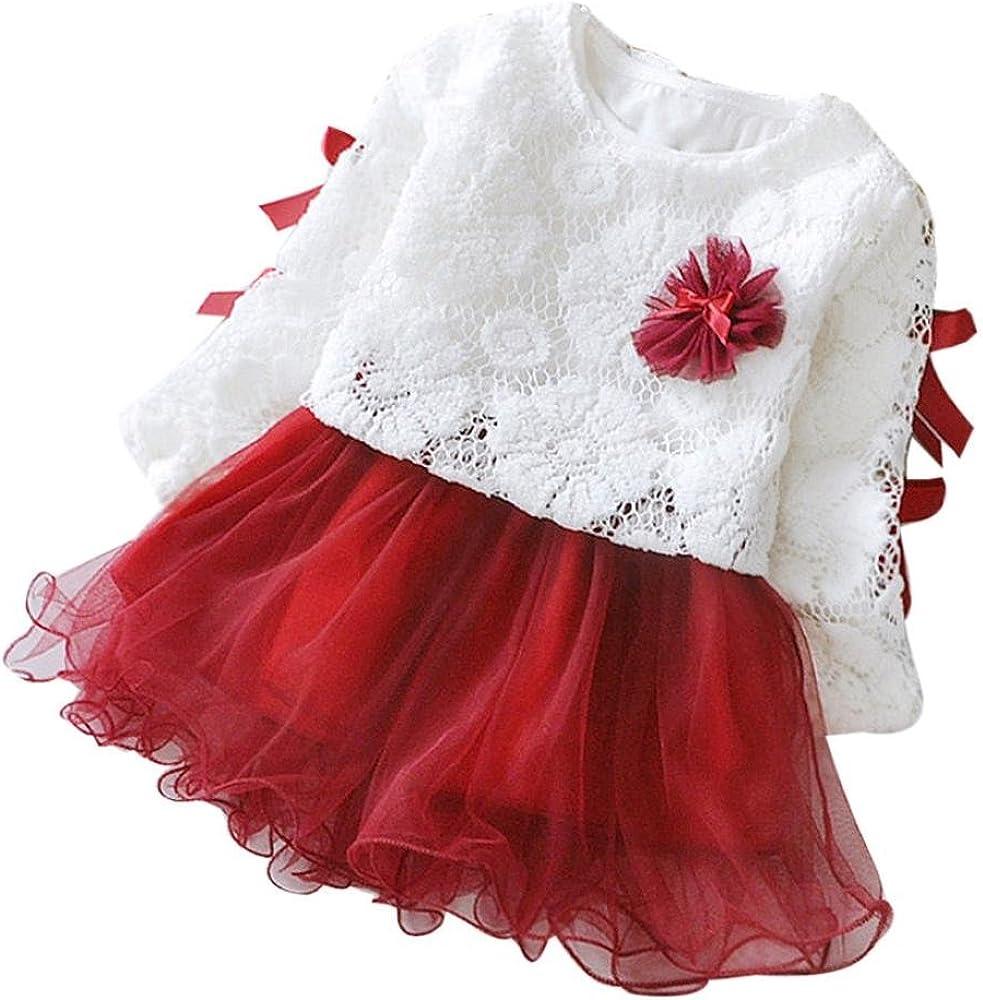 K-youth Vestido Bebe Ni/ña 2018 Ropa Bebe Ni/ña Vestido Bebe Chica Bowknot Florales Vestidos de Fiesta Princesa para 0-24 Meses