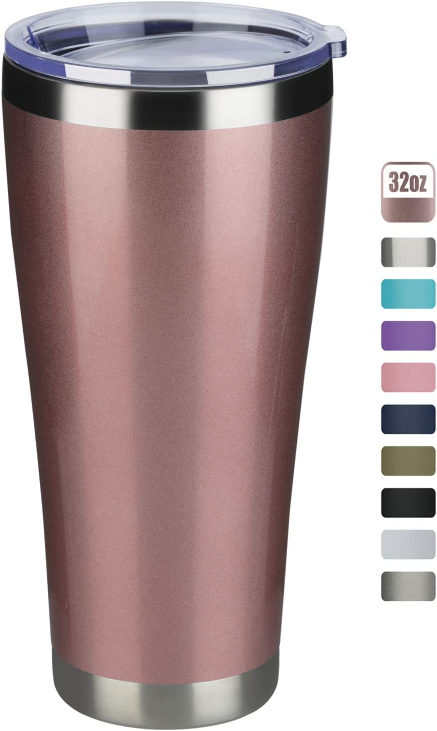 MEWAY 32oz Tumbler Double Wall Vacuum Insulated Travel Mug, Stainless Steel Coffee Tumbler with Lid, Durable Powder Coated Coffee Cup, Keep Drinks Cold & Hot (Rose Gold, 1)