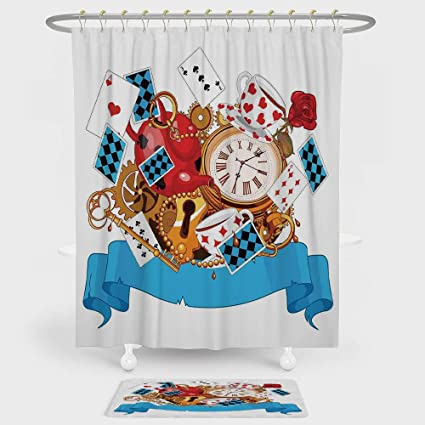 IPrint Alice In Wonderland Shower Curtain And Floor Mat Combination Set Mad Design Of Cards Clocks