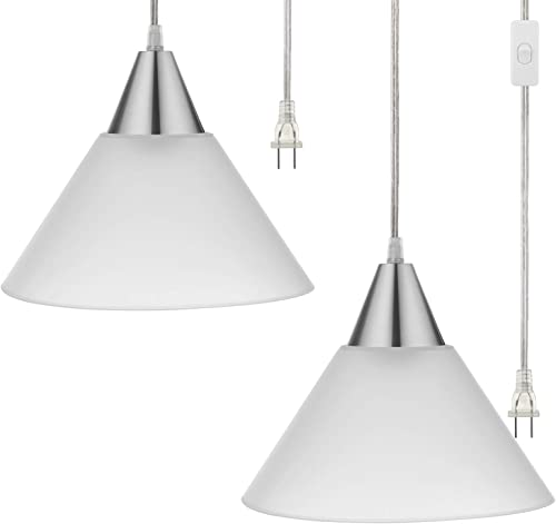 DEWENWILS Plug in Hanging Pendant Light, Interior Ceiling Light for Living Room, Bedroom, Dinning Hall, Frosted Plastic White Shade, 15FT Clear Cord On Off Switch,Pack of 2