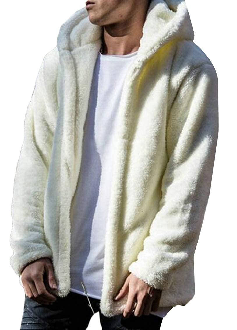 TD-CACA Mens Fuzzy Sherpa Fleece Hooded Jackets Hoodie Coats Jacket Overcoat