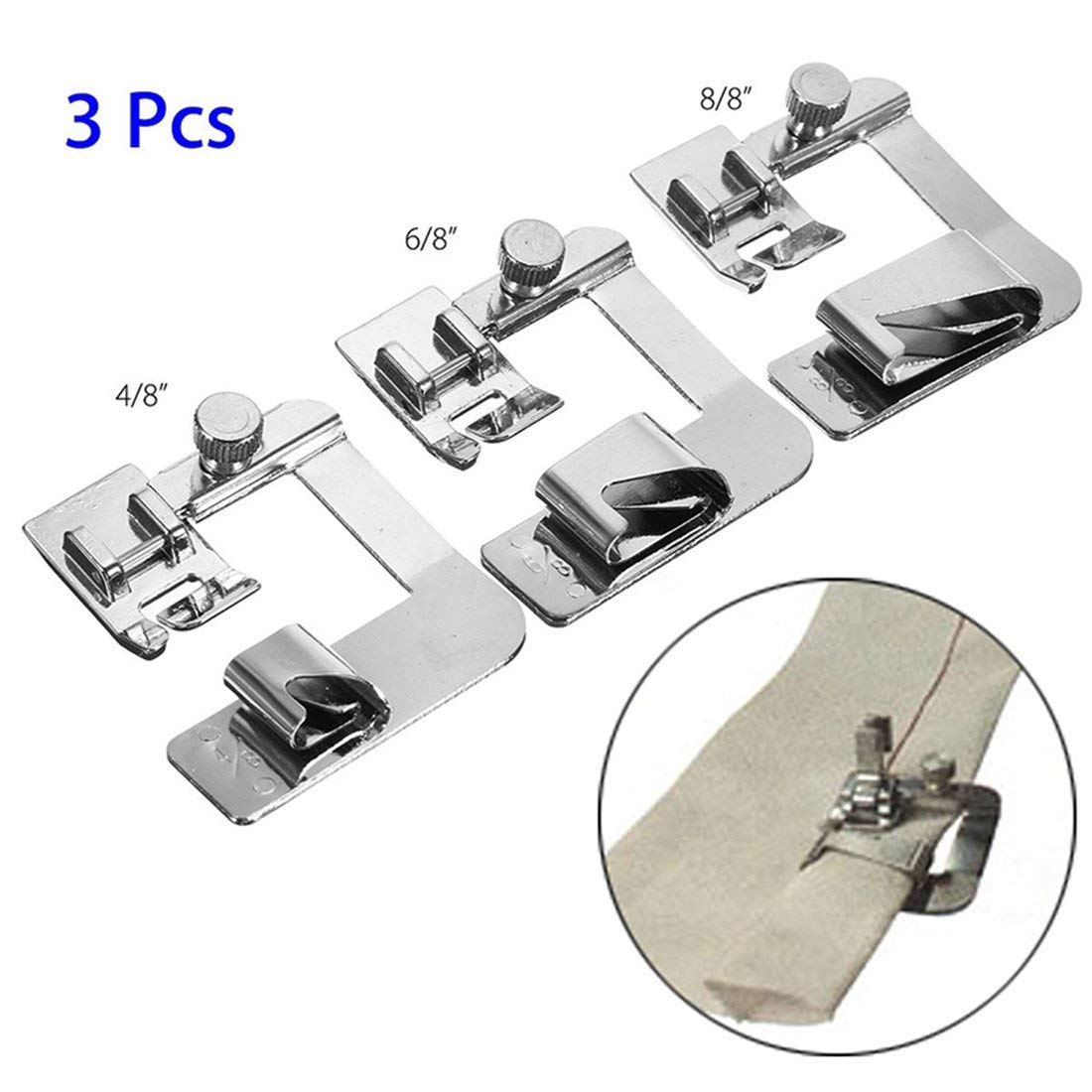 3Pcs Hemmer ancho Hemmer ajustable en forma de pie para máquinas de coser domésticas de bajo vástago Home Snap On Presser Feet Kit: Amazon.es: Hogar