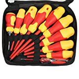 Walmeck 10pcs 1000V Insulated Screwdriver Set with Magnetic Slotted and Phillips Bits Soft Grips Electricians Electrical Work Repair Tools