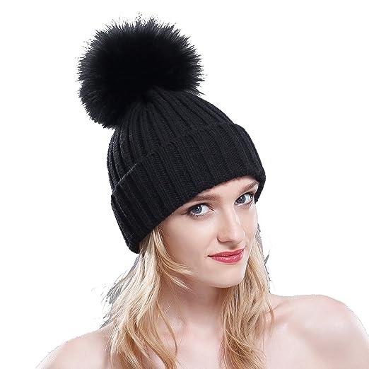 a9657997113 URSFUR Thermal Winter Fur Hat Fox Raccoon Fur Ball Female Knitted Hat  Lovers Hat (Black
