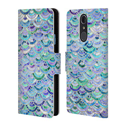 (Official Micklyn Le Feuvre Mosaic in Sapphire and Emerald Marble Patterns Leather Book Wallet Case Cover for LG Q7 / Q7 Plus (2018))