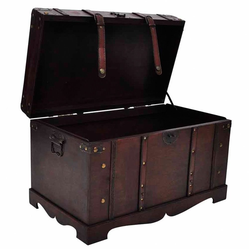 Vintage Antique Style Large Wooden Treasure Storage Trunk Blanket Steamer Chest by Daily Steals (Image #4)