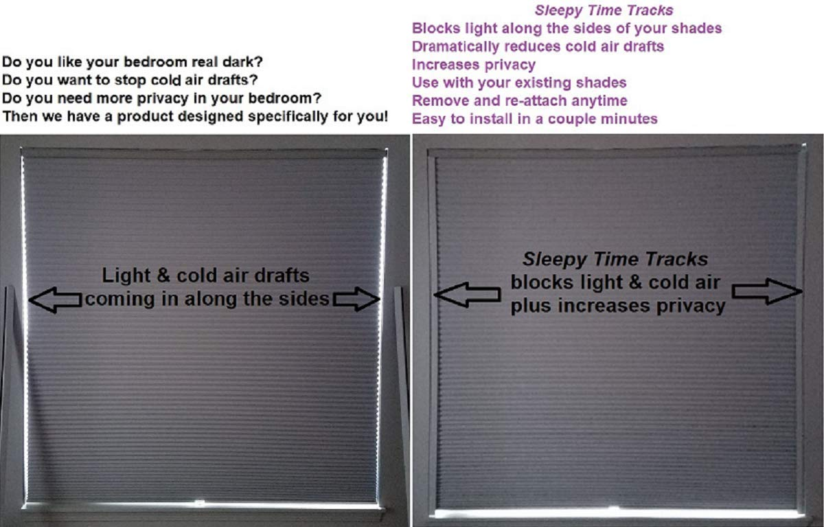 fd1c46850a Amazon.com  Sleepy Time Tracks a Room Darkening Solution That Blocks Light  Along The Sides of Blackout Shades. 60