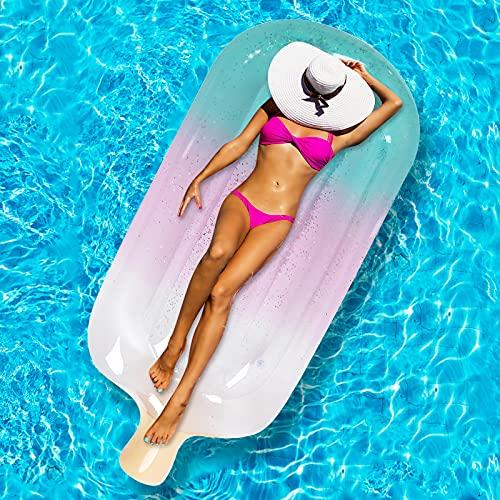 팽창식 수영장 FLOAT 66X31.5POSICLE 반짝 반짝 반짝이는 수영장 수레 아이스크림 팽창식 수영 풀을 떠광욕 의자 수영장 바닷가 장난감을 위한 수영장 파티를 여름 해변 재미있는 성인 어린이