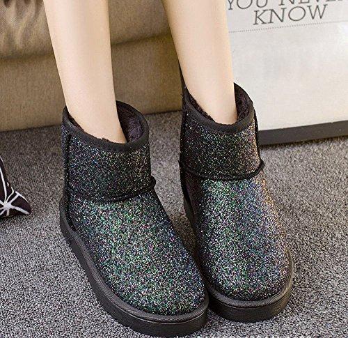 DXD Botas de Nieve de Invierno Occidental Lentejuelas Mujeres Clásicas Botas de Algodón Botas de Moda Botas Engrosadas Púrpura