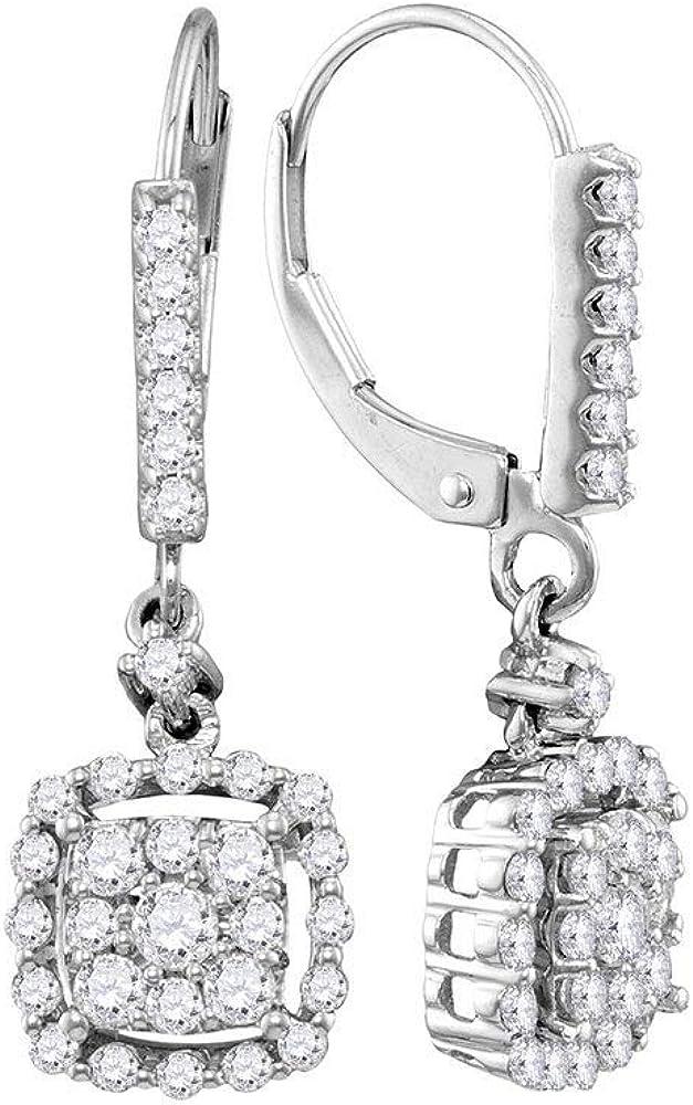 Diamond2Deal - Pendientes de oro blanco de 14 quilates para mujer con diamantes redondos cuadrados