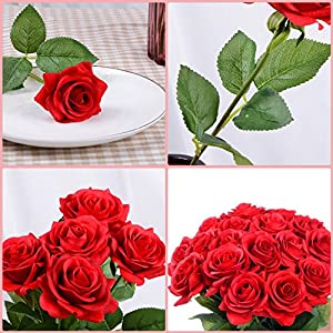 Lvydec Artificial Flowers Silk Rose Flowers - 12 Pcs Red Roses Fake Flowers Real Touch Bridal Wedding Bouquet for Home Wedding Decoration Garden Party Floral Decor 3