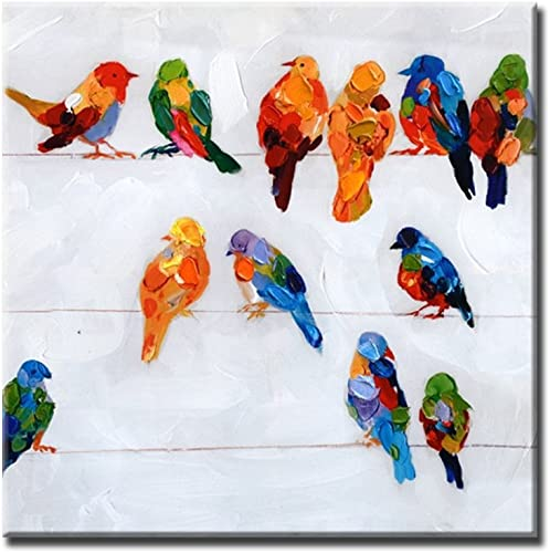 Prime Leader Hand Painted Abstract Painting Bird on The Wire Picture On Canvas Oil Painting Modern Acrylic Paintings Animals Pictures Wooden Framed 12 x12