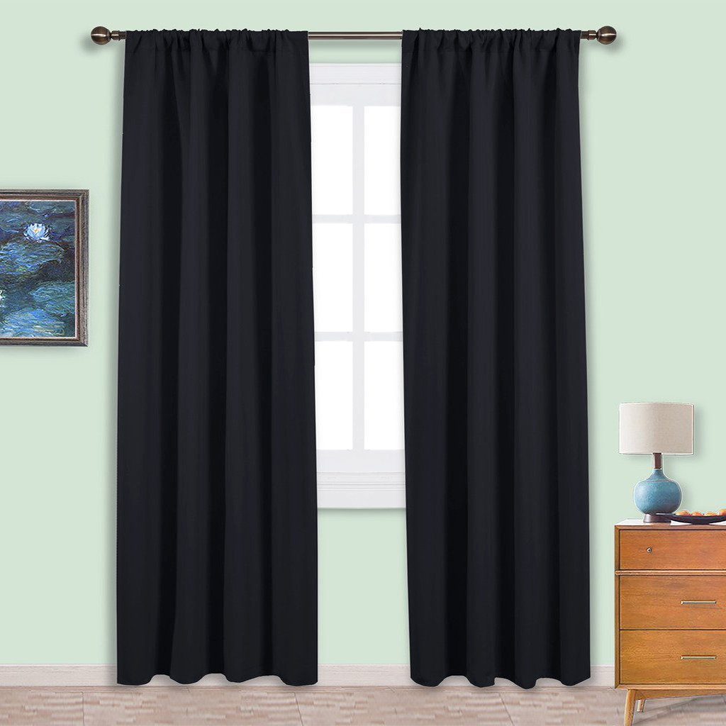 NICETOWN Living Room Blackout Shades - All Season Rod Pocket Thermal Insulated Solid Blackout Curtains / Drapes for Living Room