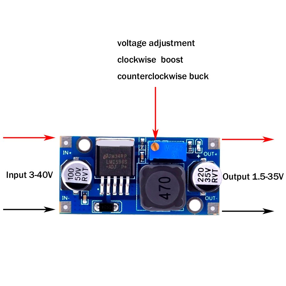 6 Pack Lm2596 Dc To Buck Converter 30 40v Power Supply For Logic Control And A 40 Volt Powering Driver Electronics