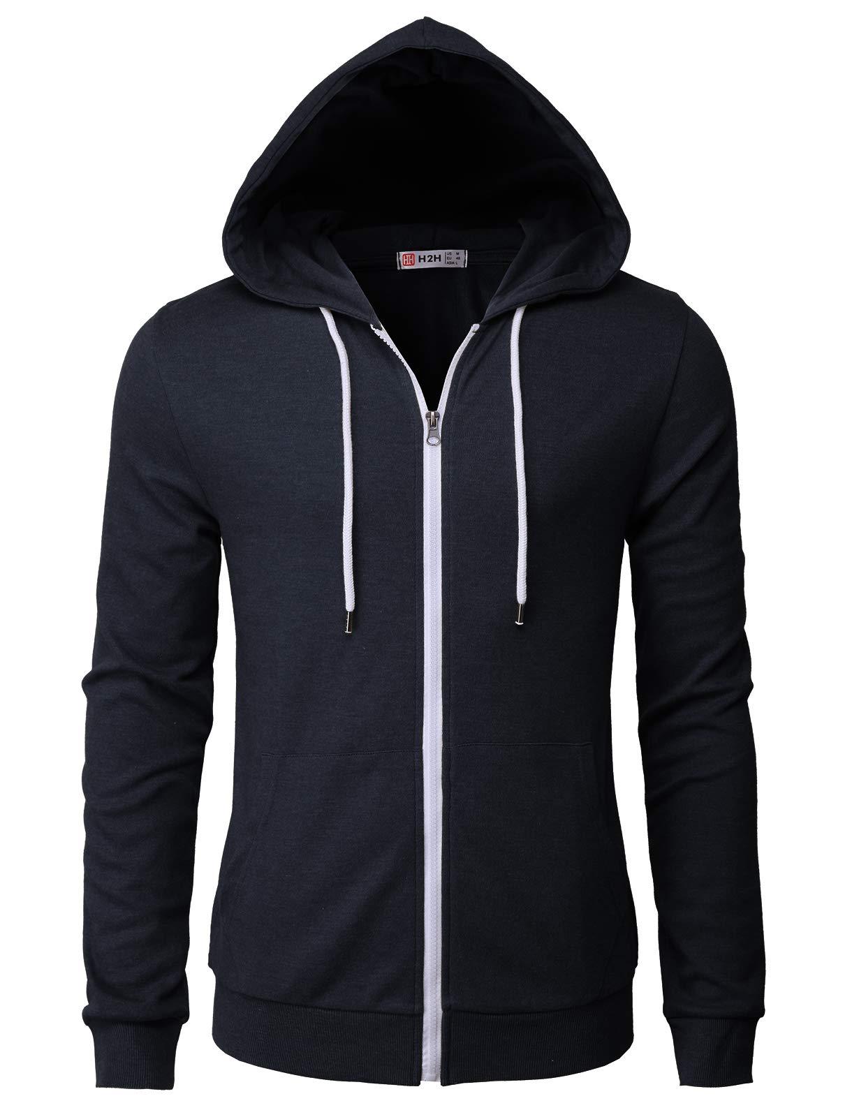 H2H Mens Casual Long Sleeve Zip up Hoodie Jacket Navy US 3XL/Asia 4XL (CMOHOL048)